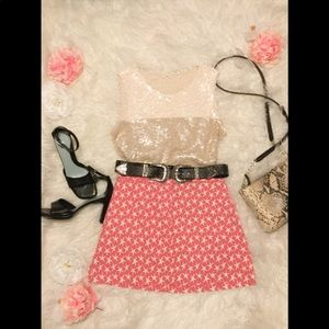 J Crew Pink And Cream Star Skirt with Pockets